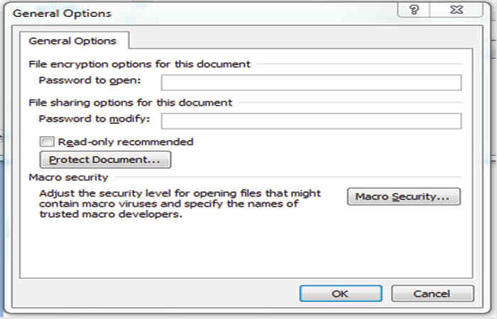 Password protection of files in Word